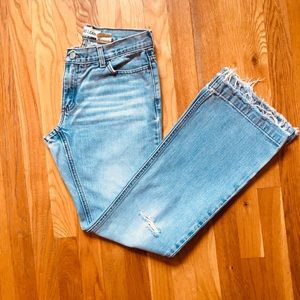 GAP Long & Lean Mid-Rise Distressed Wide Leg Jeans